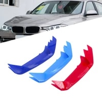 3 pcsset car high abs red blue sky blue front grille trim strips cover fit for bmw 3 series e46 e90 f30 f34 e92 e93 1998 2017