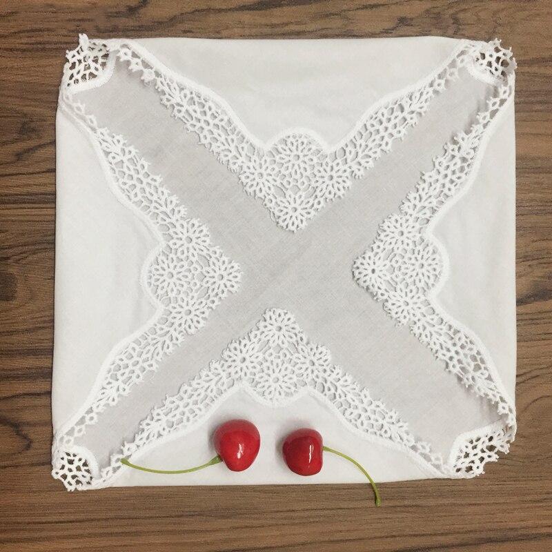 12 Uds pañuelos de mujer de moda pañuelo de algodón blanco con bordes de encaje pañuelo para regalos de boda