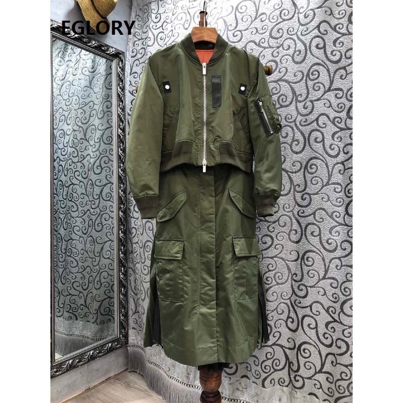 أحدث مصمم Fashoin فستان 2020 الخريف الشتاء موضة المرأة جيب سستة معطف المرقعة الأزرق الأخضر مطوي فستان قطعة واحدة