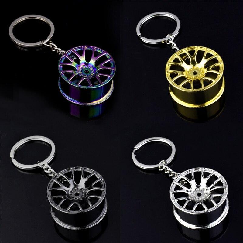 Роскошный брелок для ключей из цинкового сплава в виде ступицы колеса, Стайлинг шин, автомобильный брелок, запчасти для модификации автомоб...