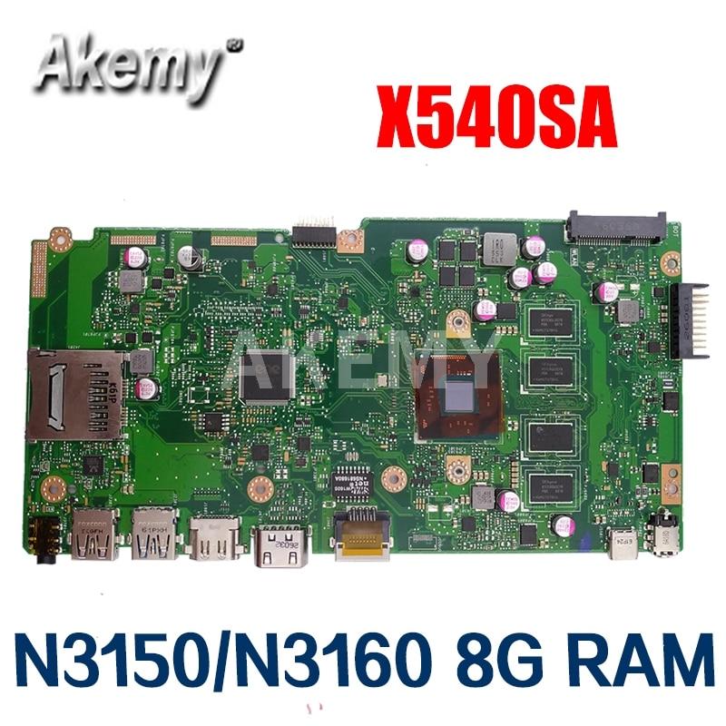 Amazoon X540SA Laptop płyta główna For Asus VivoBook X540SA X540S X540 F540S Test oryginalna płyta główna 8G RAM N3150/N3160 CPU
