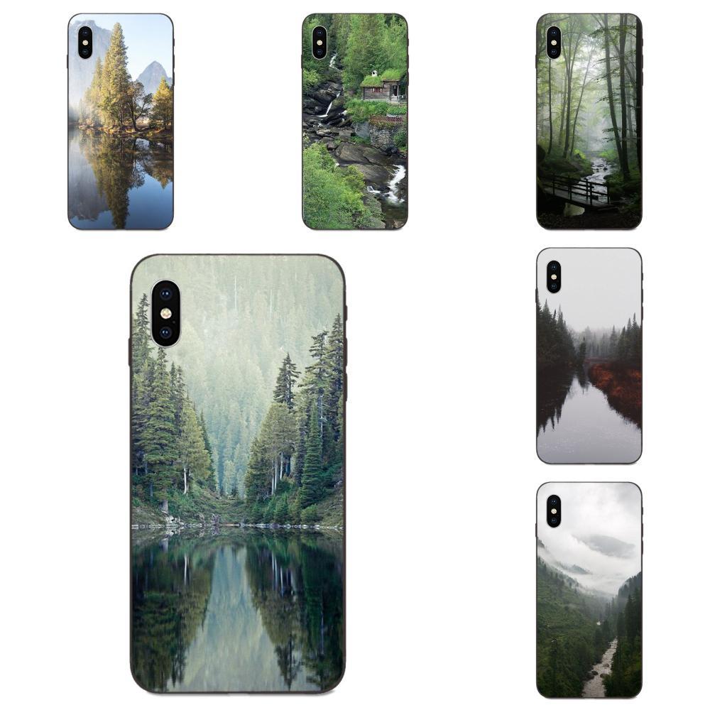 Funda de teléfono de alta calidad montaña espejo verde madera naturaleza para Apple iPhone 4 4S 5 5S SE 6 6S 7 8 11 Plus X XS Max XR Pro Max