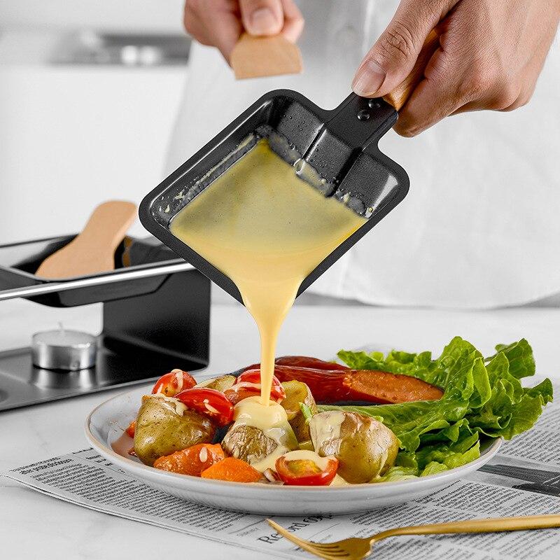Dupla-cabeça de madeira lidar com mini antiaderente churrasco bandeja de queijo suíço forno pequena bandeja de cozimento vela de chocolate fogão de panela quente