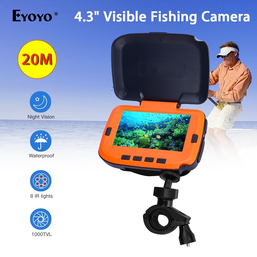Eyoyo 7HCS 1000TVL buscador de peces 20M Cámara subacuática de pesca en hielo Video cámara subacuática Lámpara de infrarrojos buscador de peces pesca en hielo