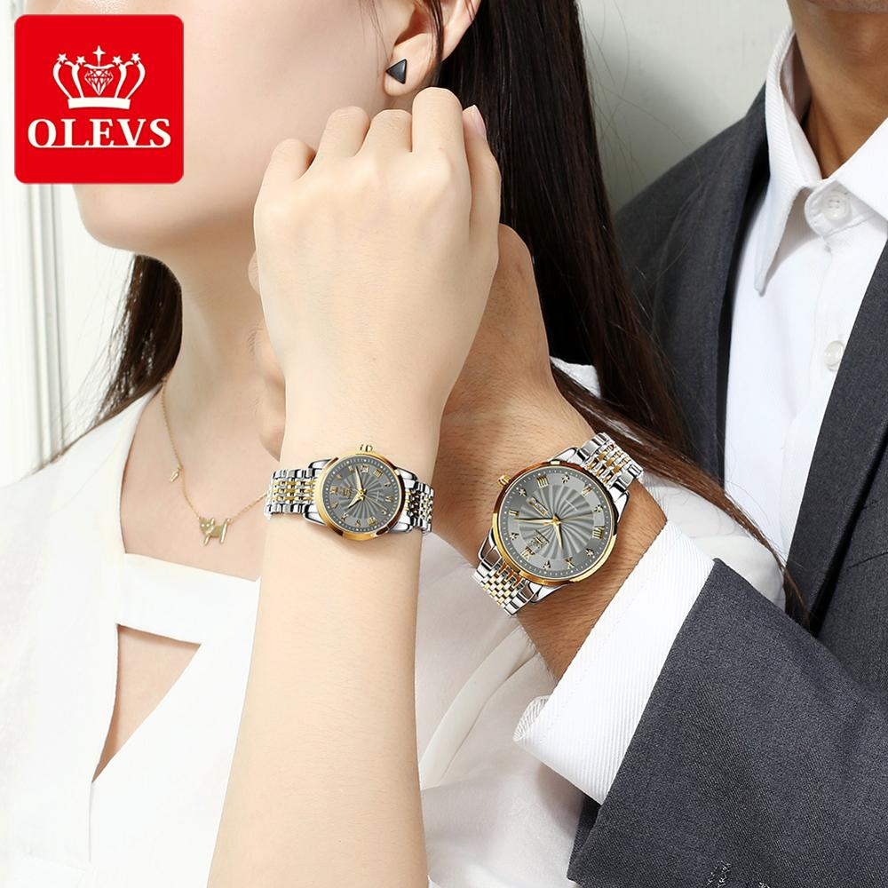 OLEVS Couple Automatic Mechanical Watches Luxury Brand  Waterproof Men's And Women's Valentine's Day Watch Gift
