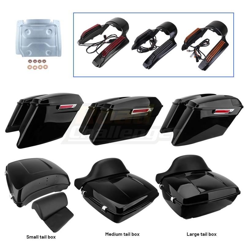 Motorcycle Black Hard Bag Saddlebags Luggage Trunk Case Backrest LED Tail Light Rear Fender Extension Fascia Metal Base Plate