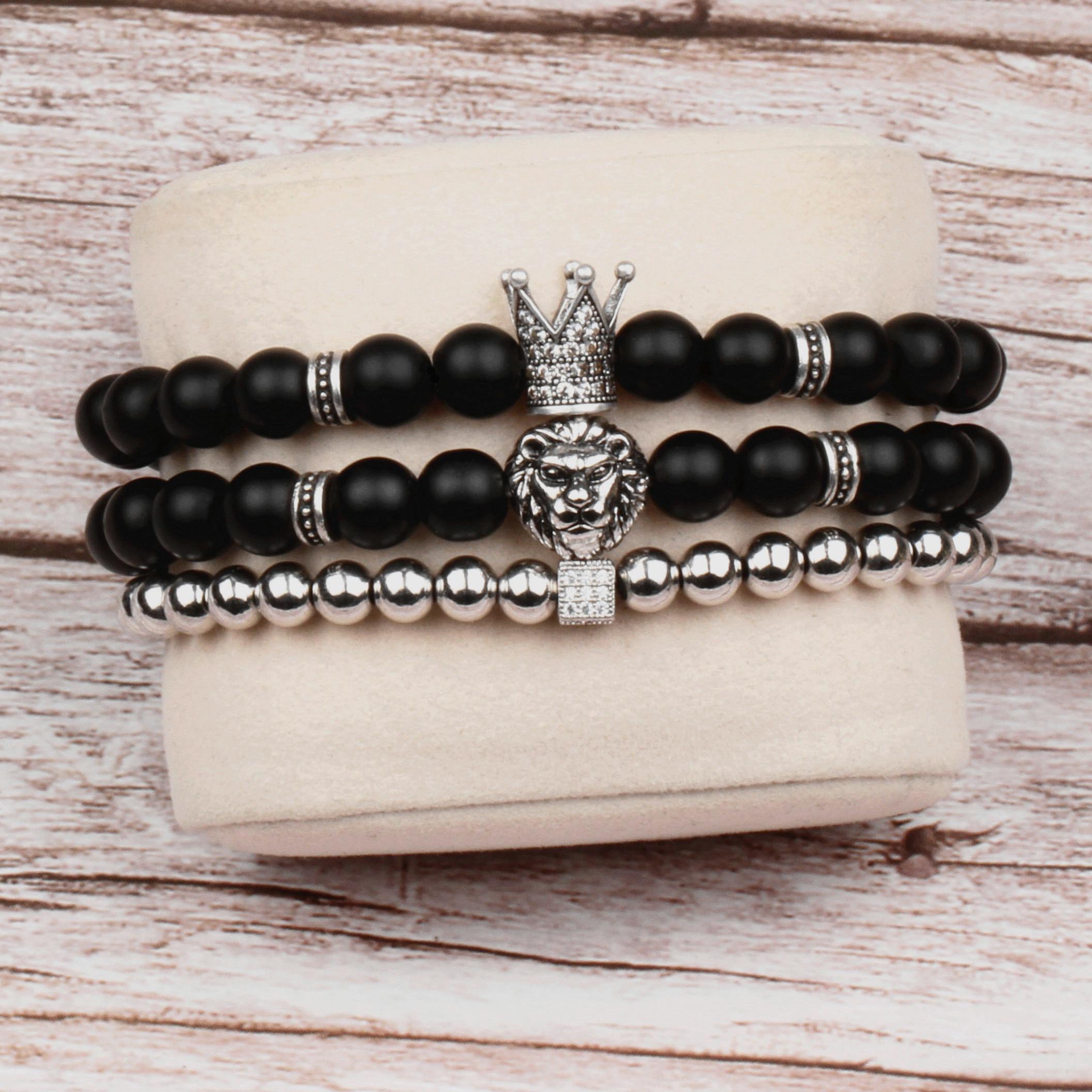 3 unids/set nueva corona y pulsera de cabeza de león hombres mujeres clásico estilo Vintage mate pulseras con dijes de piedra para parejas joyería