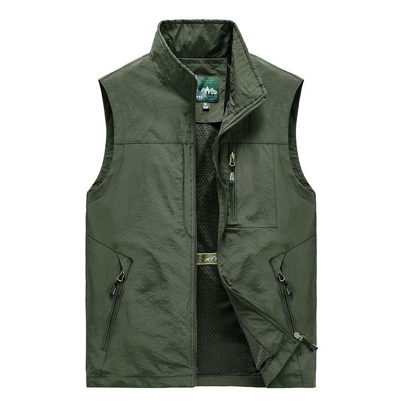5XL الرجال متعددة جيب صدرية الكلاسيكية الذكور أكمام رقيقة الربيع الصلبة معطف سترة للعمل Photographer التكتيكية الصيف سترة
