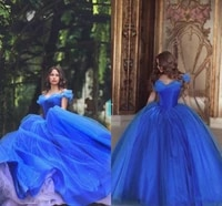 prom dresses off shoulder pleats ice blue puffy princess dresses evening wear tulle quinceanera special ball gown evening gowns