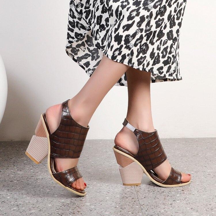 Olomlb womens crocodilo padrão sandálias estilingues peep toe sapatos cunha de salto alto verão mais tamanho novo 2021