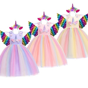 Girl Unicorn Birthday Party Dress Children Halloween Fancy Princess Costume Girl Rainbow Carnival Christmas Ball Gown Clothes