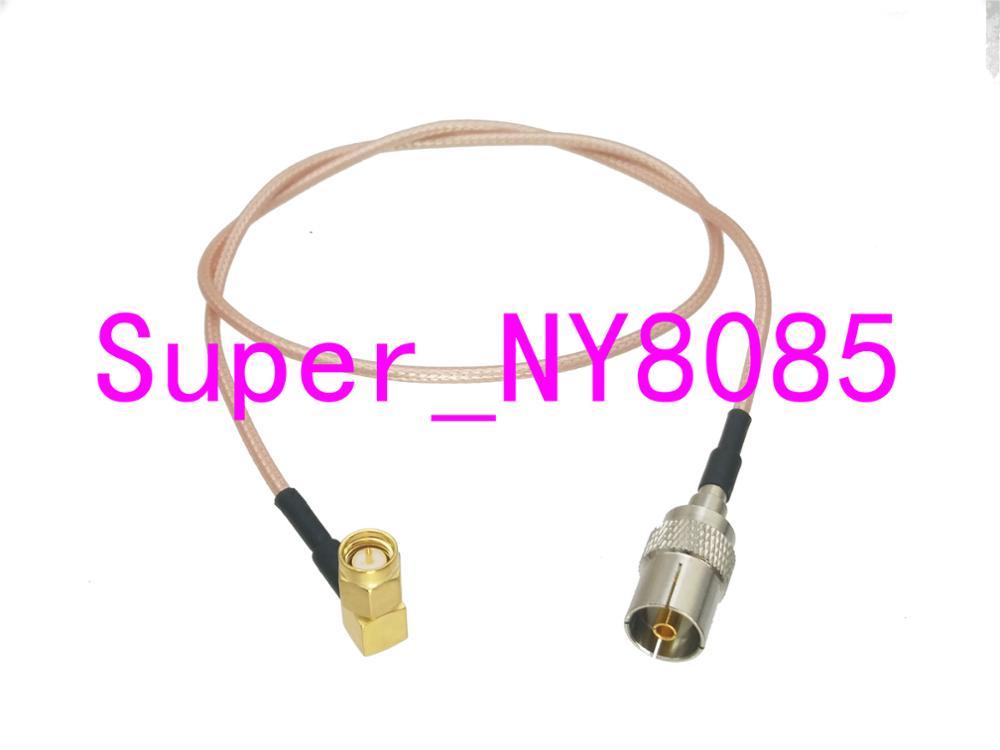 Cable IEC TV DVB-T hembra jack a SMA macho ángulo recto RG316 Jumper cola de cerdo 4 pulgadas ~ 10M