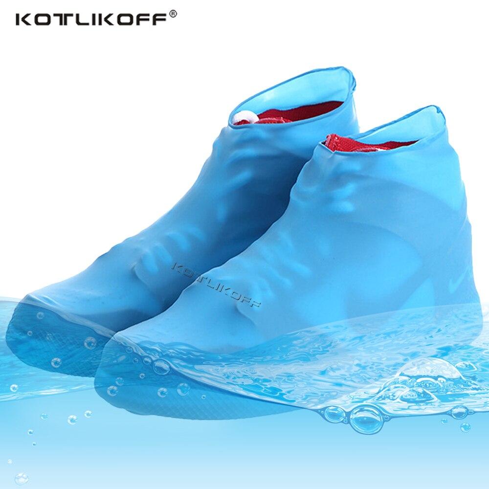Reutilizable de látex impermeable cubierta para zapatos contra la lluvia Slip-caucho resistente espesar lluvia chanclos Anti-slip bota Fundas protectoras
