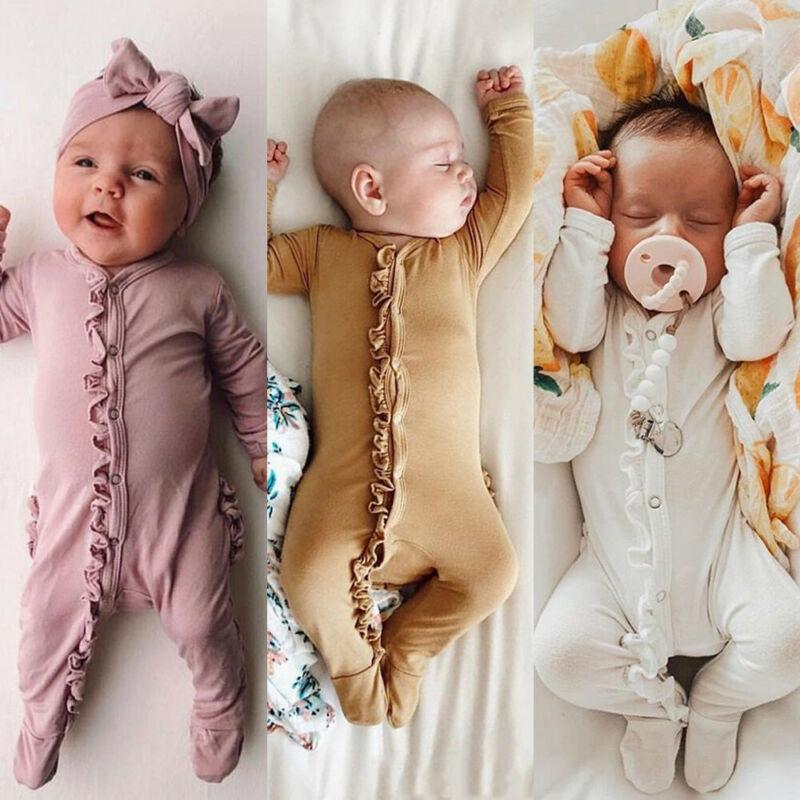 Pudcoco marca novo estilo do bebê recém-nascido menina menino floral footies macacão bandana roupas