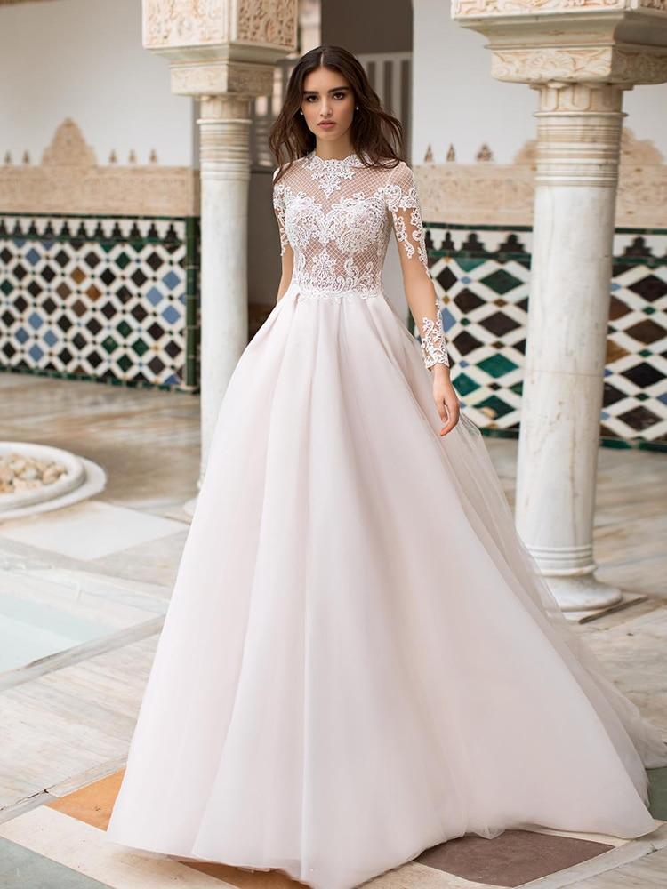 Review YILIBER Lace wedding dress retro 3d flower o-neck bridal dresses atmosphere long sleeve fluffy skirt big skirt
