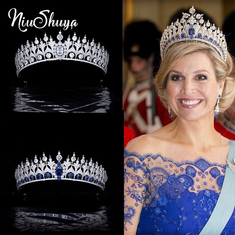 NiuShuya Spanish Royal Blue Bridal Crown Cubic Zirconia Princess Tiara Pageant Headpiece Wedding Party Prom Hair Jewelry