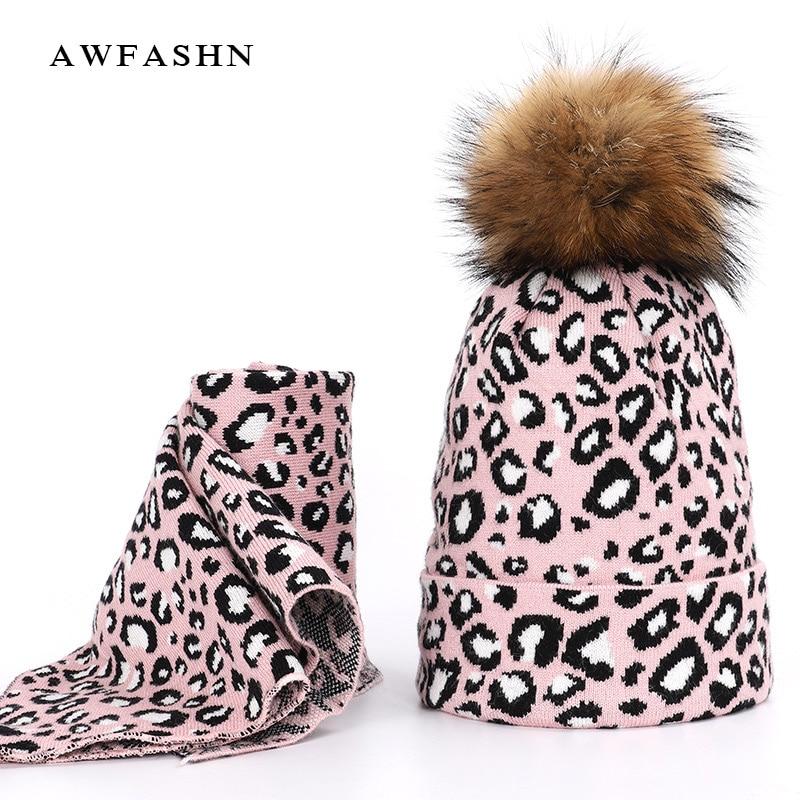 2019 Winter Fashion Retro Ladies Raccoon Fur pom poms Knit Beanie  Hat Scarf Sets Women Thick Warm Soft Cap Female Bonnet Cotton
