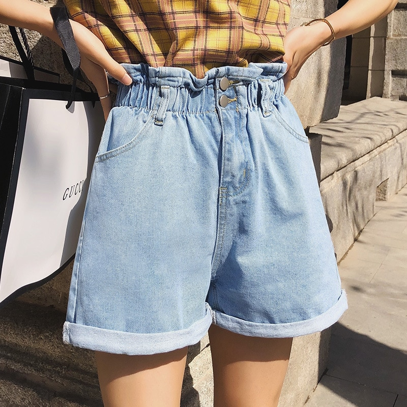 Casual Streetwear Summer Women Shorts High Elastic Waist Wide Leg Shorts Cotton Jeans Shorts Vintage Trousers