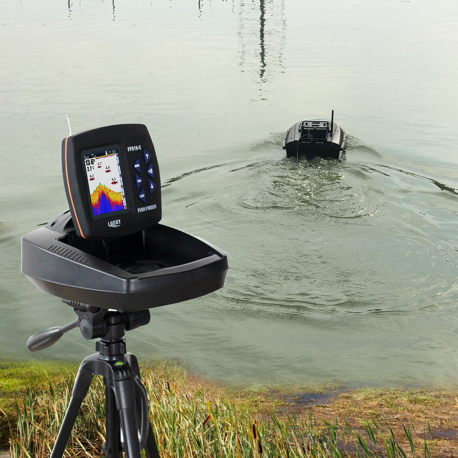 Lucky FF918 Wireless Remote Control Boat Fish Finder 300m/980ft wireless operating range echo sounder enlarge