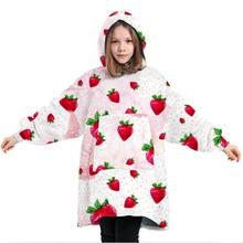Oversized Hoodie Blanket Fluffy Oodie Blanket Hoodie for Kids Hooded Blanket with Big Front Pocket F