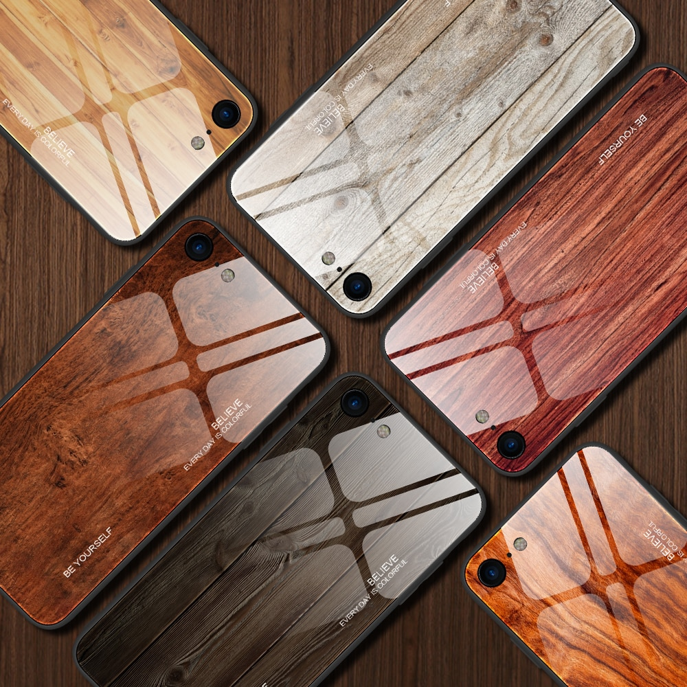 Carcasa de teléfono tipo espejo de madera para iPhone 7 8 6 6s Plus, iPhone Xr X Xs Max, carcasa de cristal templado de lujo para iPhone 11 Pro Max, carcasa trasera