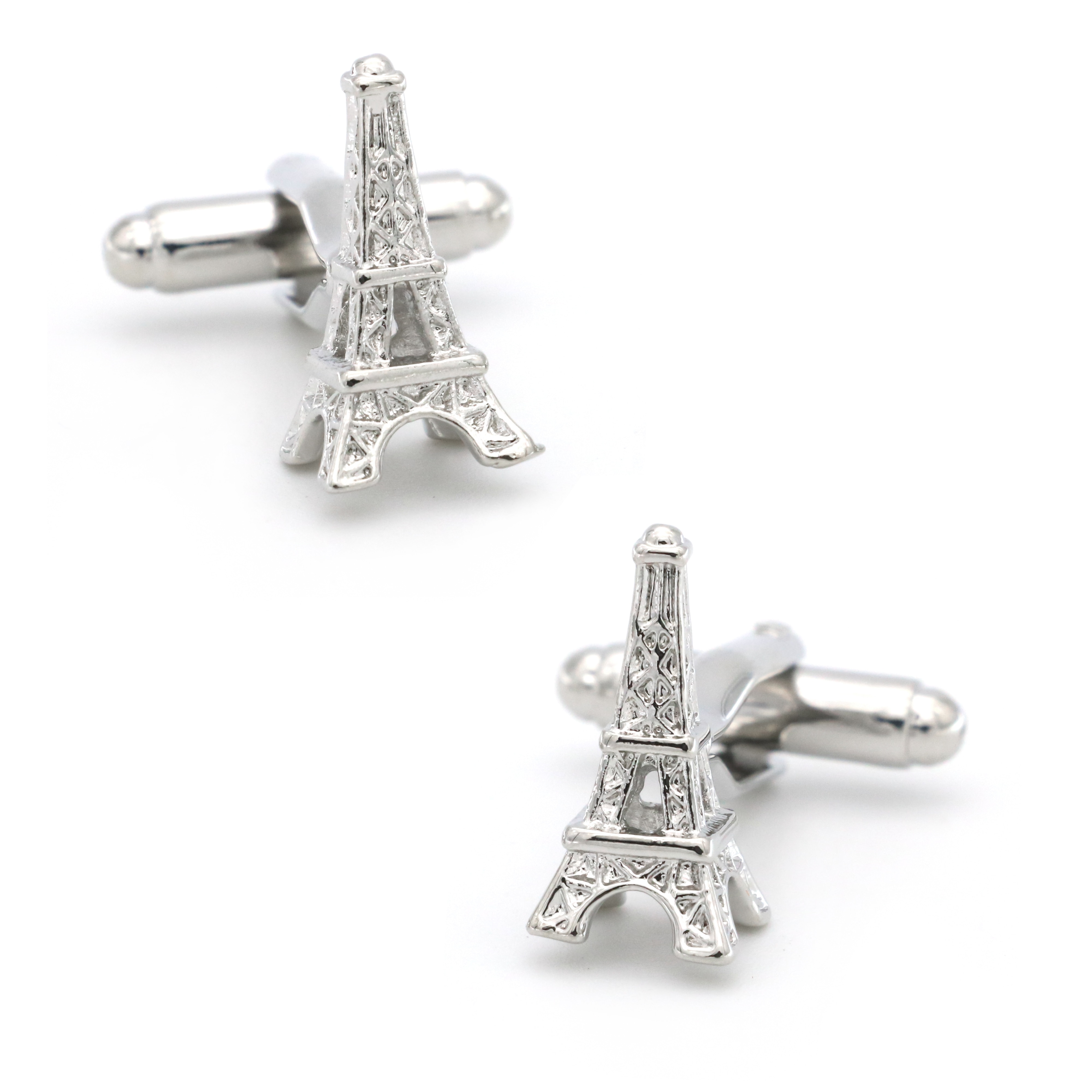 Free Shipping Men's Cufflinks Eiffel Tower Design Silver Color Quality Copper Cuff Links Wholesale&r