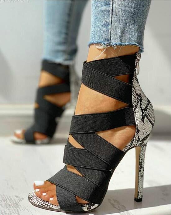 Sandalias de Mujer 2020, zapatos de tacón para Mujer, Sandalias de tacón alto de serpiente de colores variados ajustados de retales a la moda, zapatos informales, talla 37 ~ 43