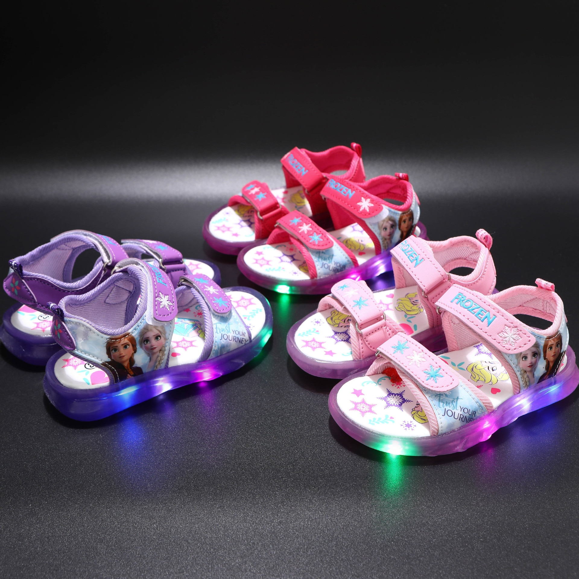 Save World Frozen Princess Girls Sandals Disney Minnie Mouse LED Shoes Kids High Quality Spiderman Children Boys Sneakers