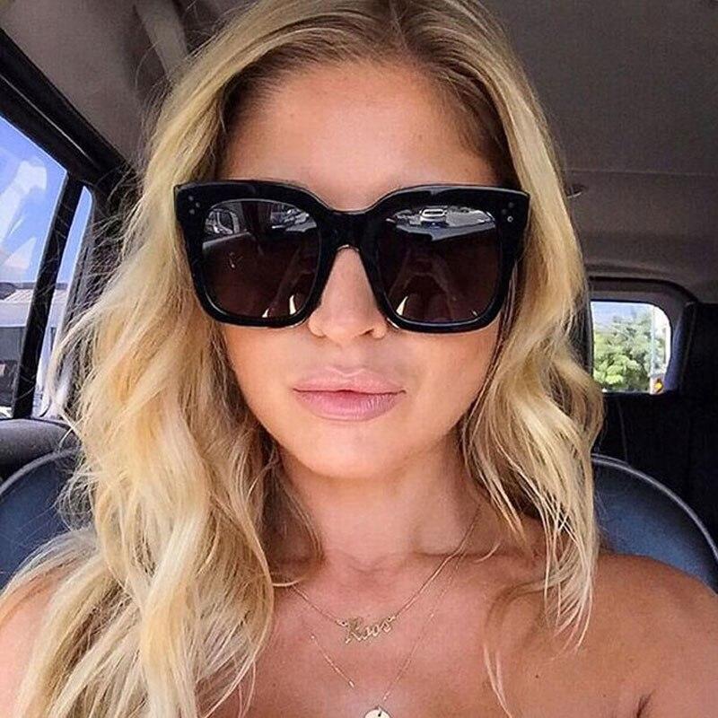 Luxury Square Sunglasses Women 2021 Brand Designer Retro Big Frame Sun Glasses Vintage Gradient  Female Oculos Feminino UV400