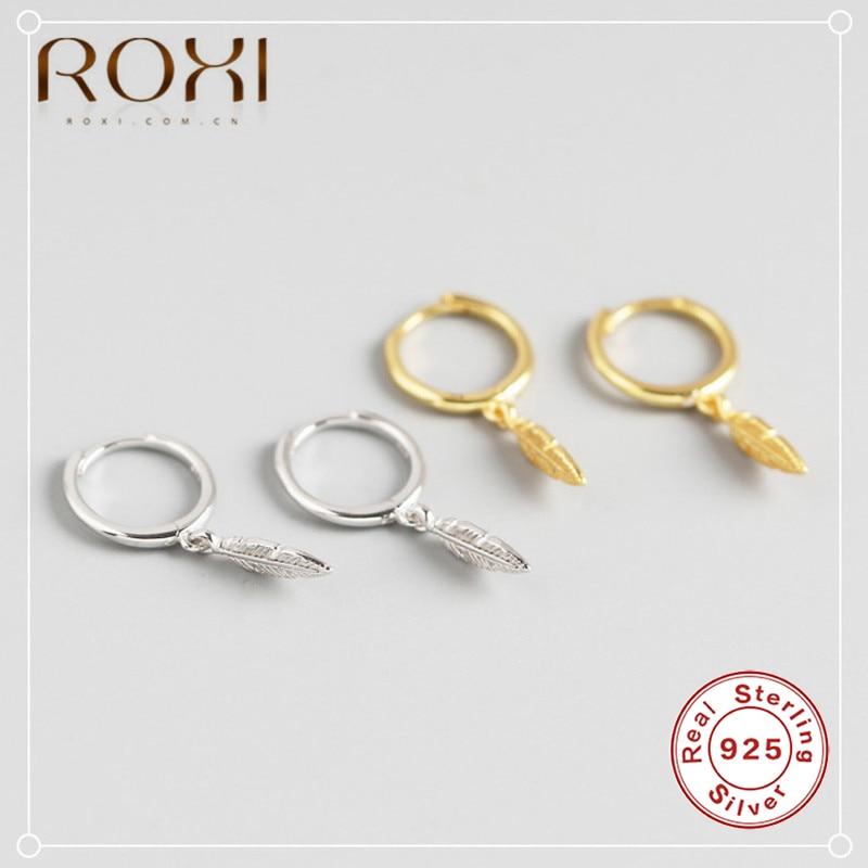Pendientes pequeños Brincos ROXI 100% de plata esterlina 925 para prevenir alergias de plumas para mujer, joyas de pendientes de boda, accesorios