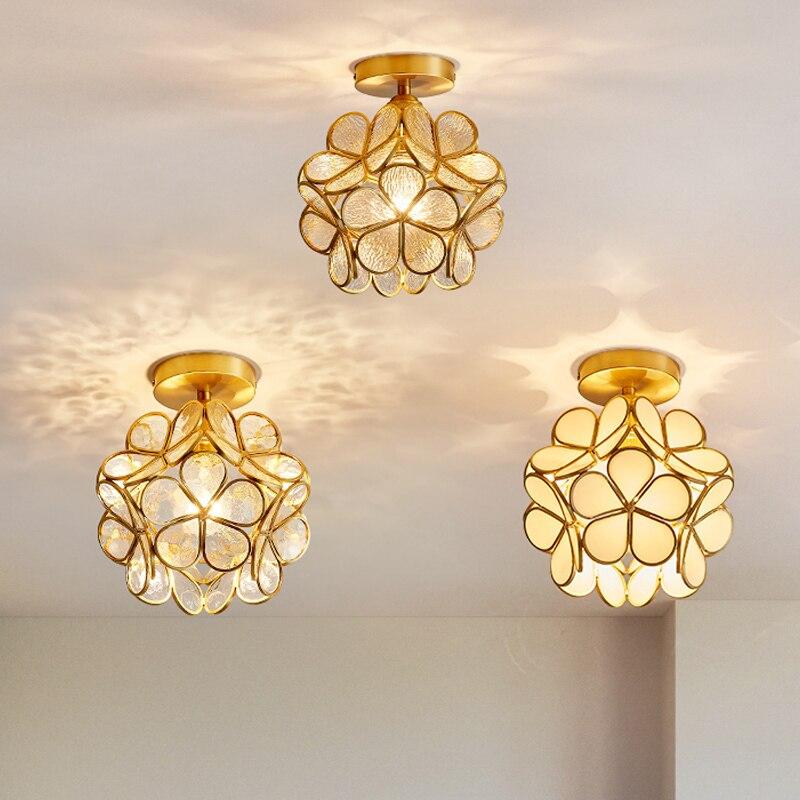 Luces de techo de pétalos, lámparas nórdicas de cobre para dormitorio, balcón, porche, pasillo, luces, lámpara de techo creativa para habitación de niñas y niños