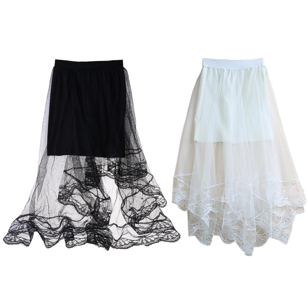 Для женщин Высокая Талия зубчатой отделкой из кружева Длинная юбка миди на подкладке одноцветное Цвет и асимметричным подолом со складками...