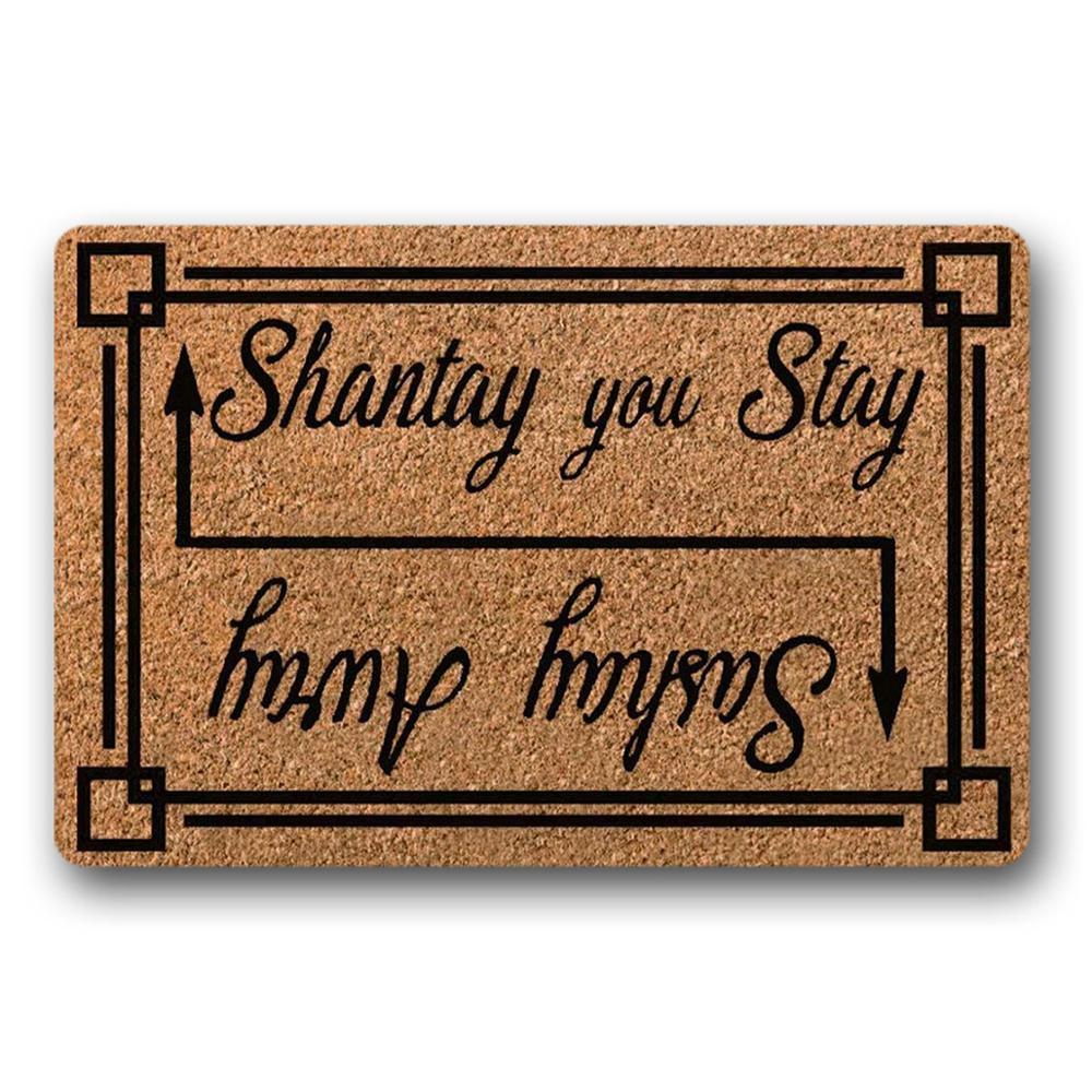 سجادة باب مضحكة Shantay يمكنك البقاء بعيدا سباق السحب روبول ترحيب ممسحة 18x30 بوصة