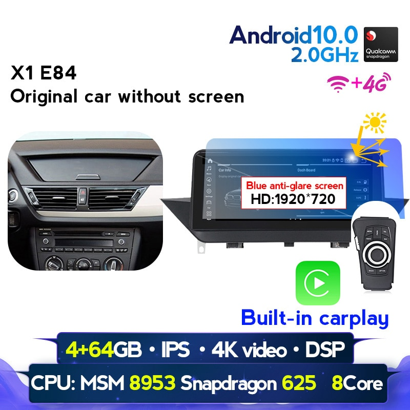 NaviFly 1920*720 Blau anti-glare bildschirm Drahtlose carplay Android 10,0 Auto gps-multimedia-player für BMW X1 e84 2009 2010-2015