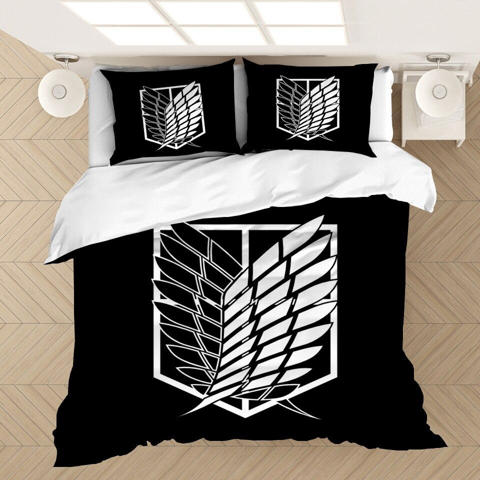 أنيمي هجوم على تيتان ثلاثية الأبعاد مطبوعة طقم سرير أغطية لحاف سادات المعزي طقم سرير أغطية سرير السرير (لا ورقة)