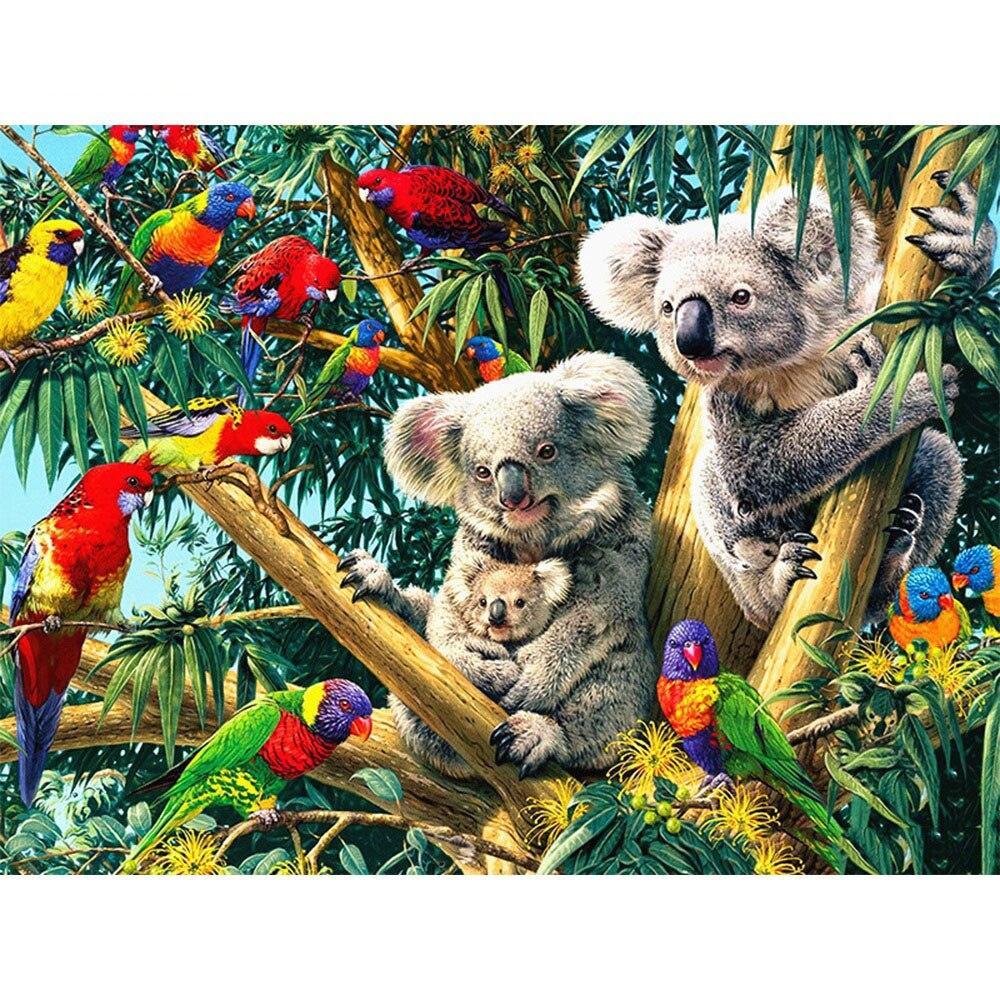 Cuadro de diamantes cuadrado completo, pintura animal Koala, decoración del hogar, cuadro bordado, Kit de Arte de mosaico artesanal