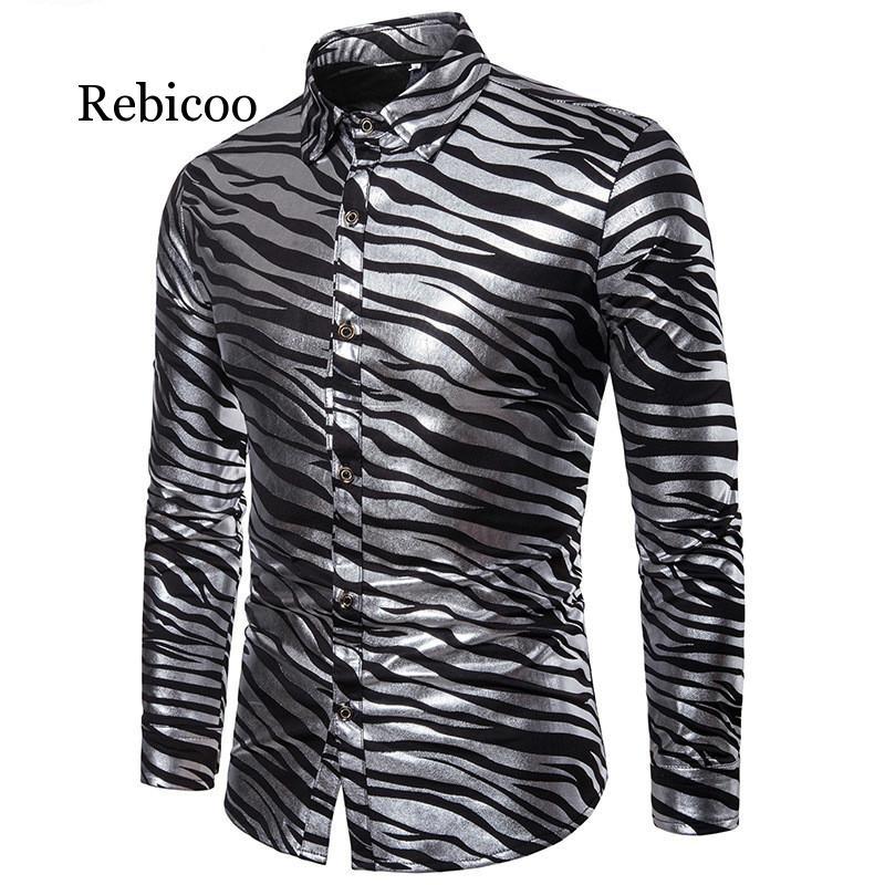 2019 Tuxedo Shirt Mens Slim Long Sleeve Red White Black Stripe Casual Business Top XL S-XXL