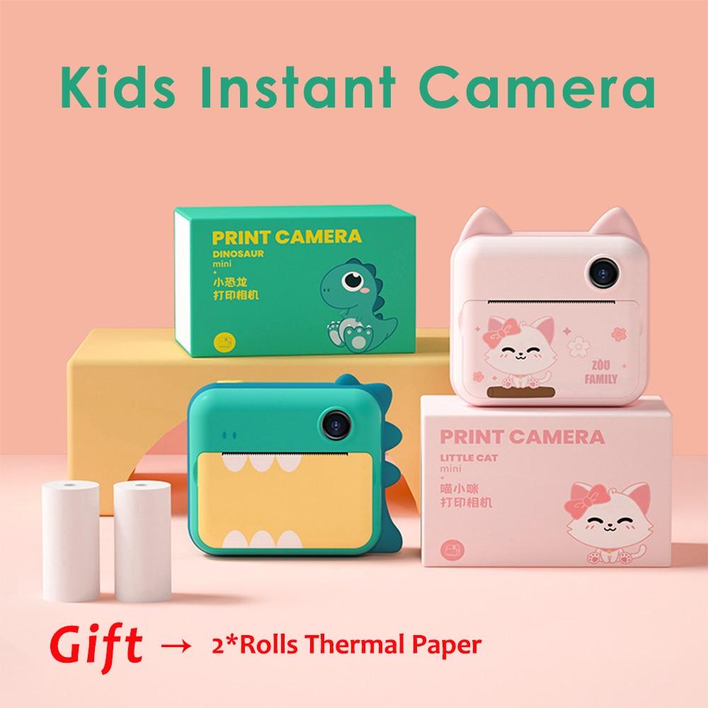 كاميرا مطبوعة فورية عالية الدقة للأطفال ، 1080 بكسل ، كاميرا رقمية أمامية وخلفية ، ألعاب أطفال مع ورق حراري ، هدية للأولاد والبنات