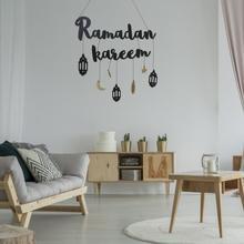 Muslim golden banner Ramadan Kareem alphabet wall hanging Eid Mubarak decorations home wall decorati