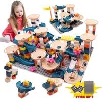 296pcs big size brick marble race run maze ball track building blocks diy colorful assemble blocks educational toys for children