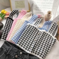 women knitting tops novelty buttons front houndstooth print elegant crop knitted tops england style sexy chic top