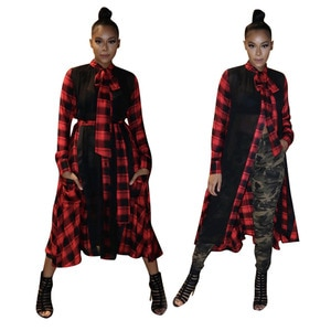 Women's Casual Plaid Mesh Splicing Mid Dress with Belt