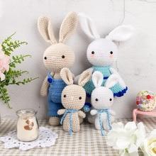 Style nordique inachevé tricot tissu jouet bricolage tricot lapin famille jouets dinosaure coton corde jouet ensembles anniversaire cadeau Kit