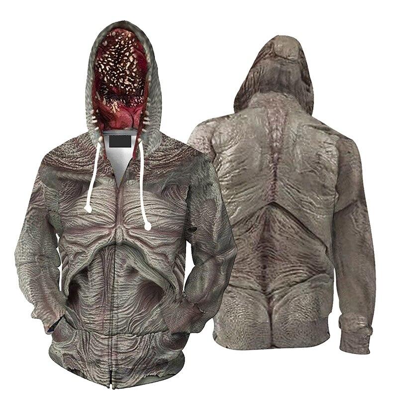 Stranger Things Demogorgon Hoodie Cosplay Costume Men's Casual Jacket Zipper Hooded Sweatshirt The Monster Coat Drop Ship