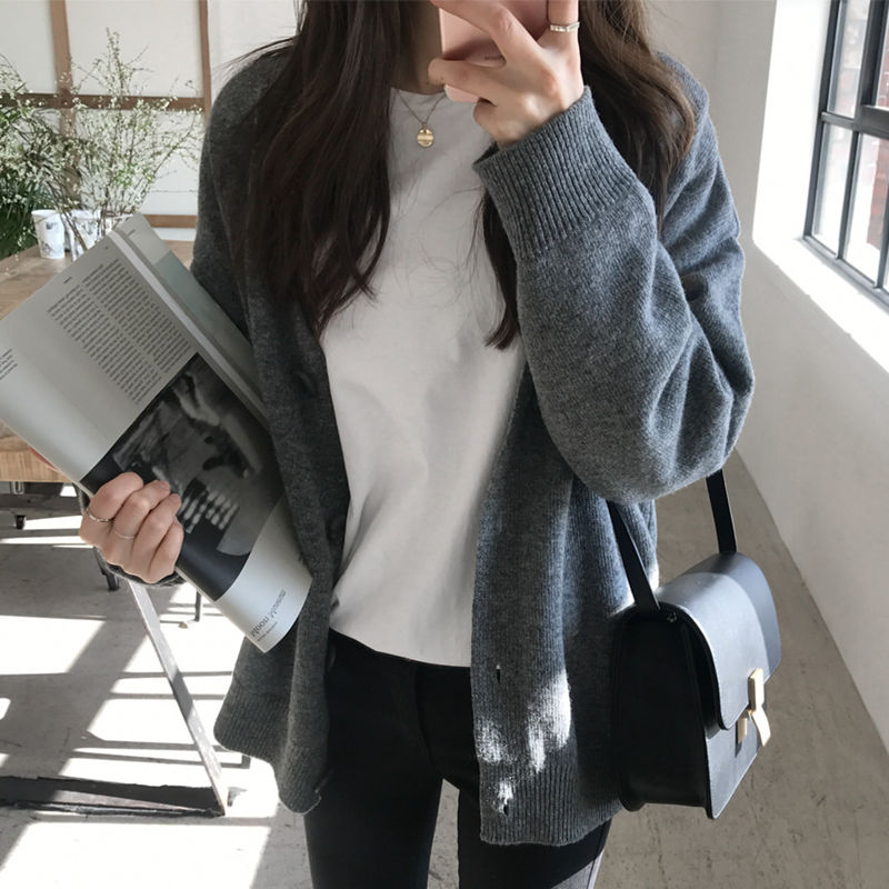 Sweater WOMEN 'S Cardigan Fashion College Style Autumn and Winter New Korean Loose V-Neck Sweater Net Red Coat Women enlarge
