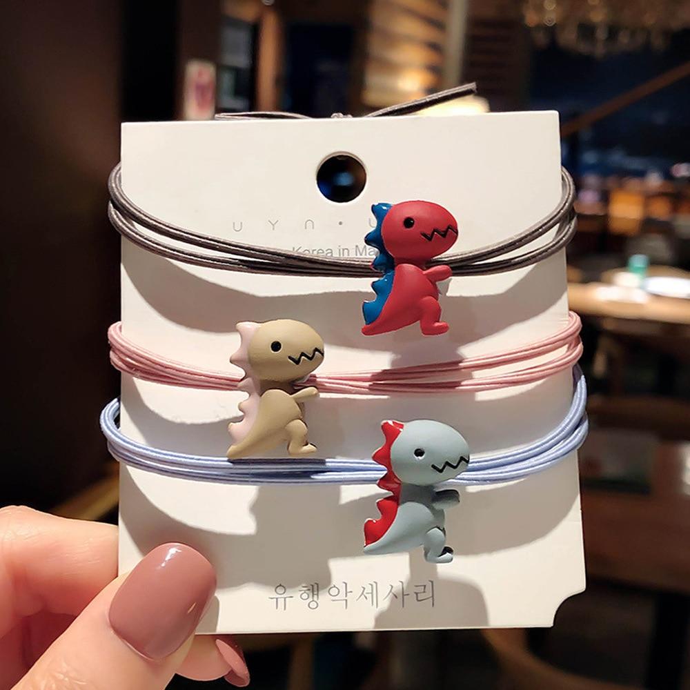 Korea Cute Little Dinosaur Hair Ropes Simple Headdress Elastic Hair Rubber Bands for Women Fashion Jewelry Accessories