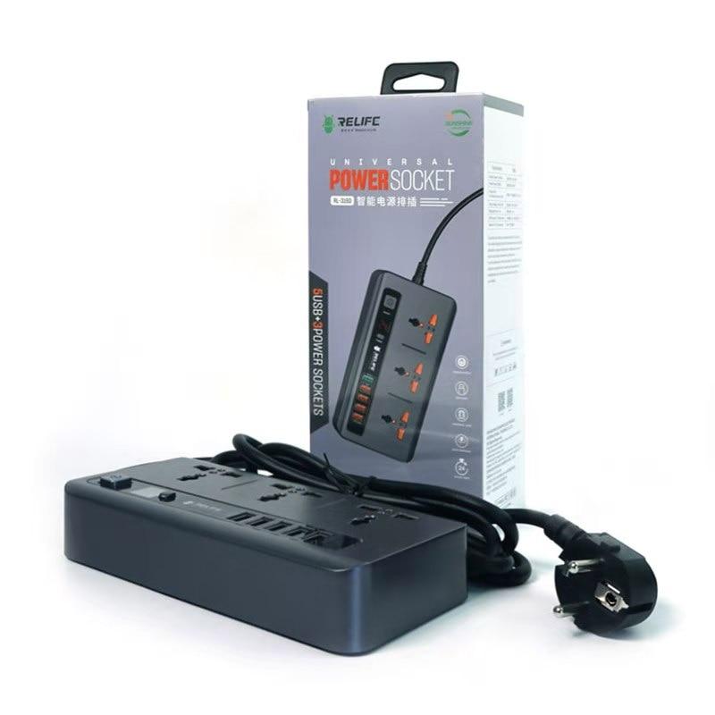 أحدث RELIFE RL-316D 2500W 5 USB سريع شحن المنزل الذكية الرقمية عرض توقيت التحكم 3 الطاقة العالمي المقبس