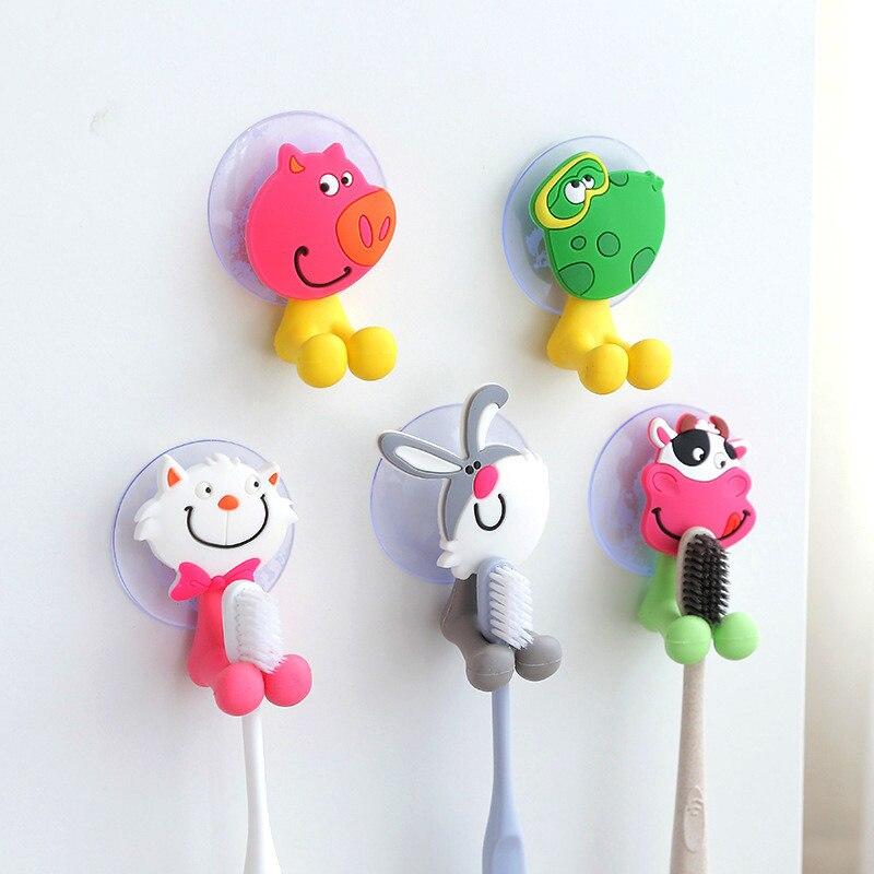 1 Uds Kawaii dibujos animados soporte para cepillos de dientes de animales ventosas silicona cepillo de dientes soporte de pared ventosa Drop Shipping
