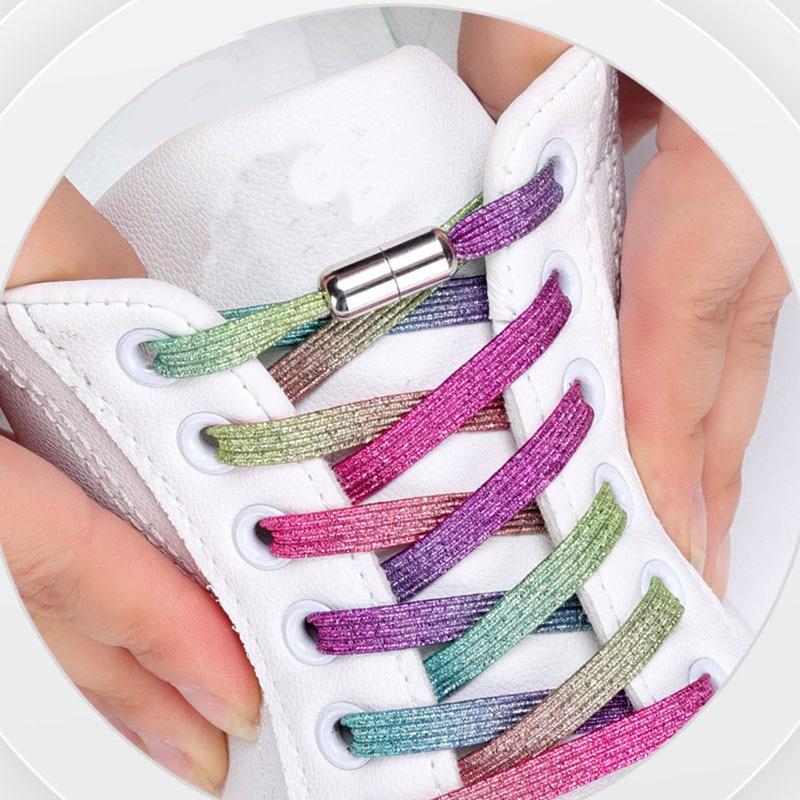 Colorful Elastic Locking No Tie Shoelace Women Men Sneakers Shoelaces Flats Locking Shoe laces Kids