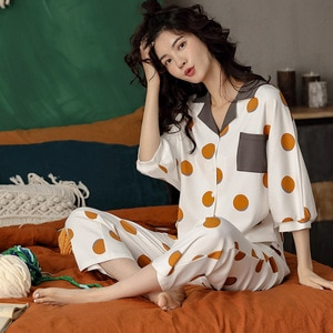 The New Cotton Pajamas Women Loose Shirt in Spring And Aummer Two - Piece Fashion Leisure Wear Suits for